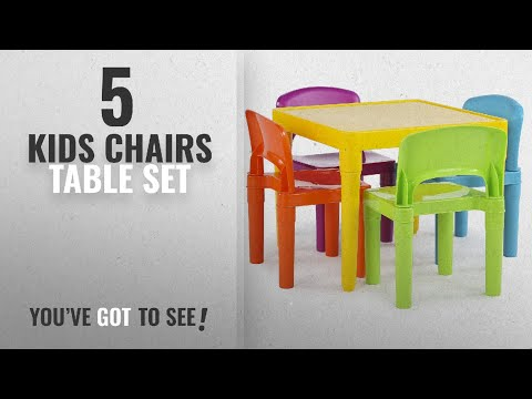 Top 10 Kids Chairs Table Set [2018]: Tot Tutors Kids Plastic Table and 4 Chairs Set, Vibrant Colors