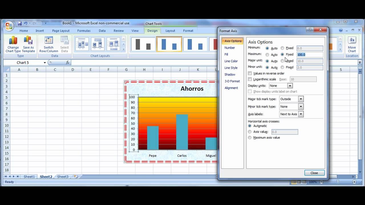 tutorial excel modificar gráficas datos color escalas títulos youtube