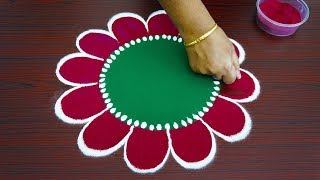 Beautiful simple freehand rangoli for thaipusam 2019 - colour kolam with out dots - best muggulu