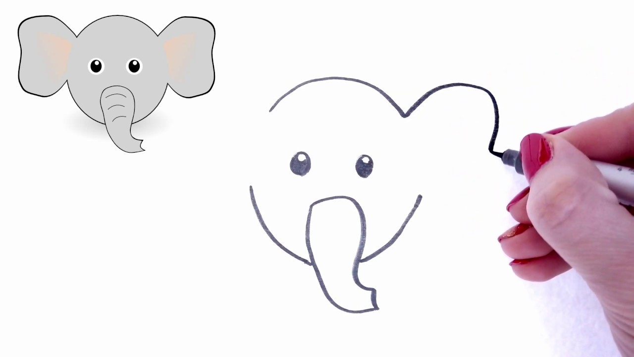 How To Draw A Baby Elephant S Face Easy Cartoon Elephant Drawing Youtube