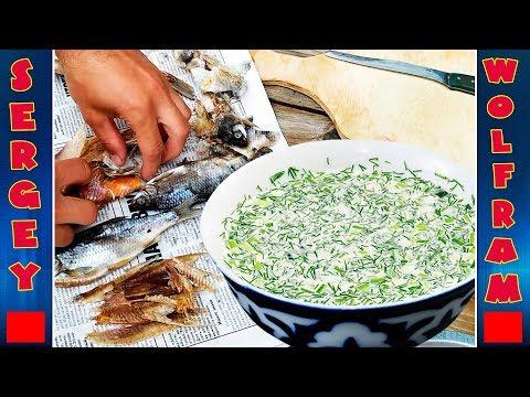 Окрошка с вяленой рыбой очень вкусная