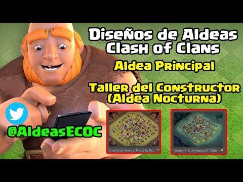 """Diseños de Aldeas Para Clash of Clans """"Aldea Principal"""" y Taller del Constructor (Aldea Nocturna)"""