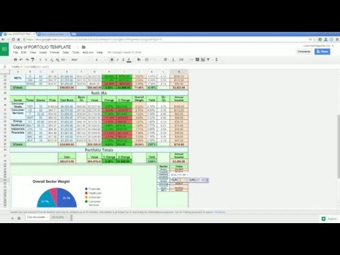 Live Updating Google Finance Stock Portfolio Tracker Template Tutorial