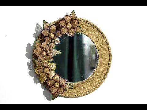 Easy jute flower mirror wall hanging