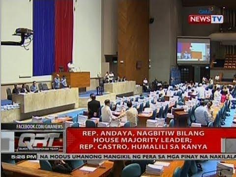 QRT: Rep. Andaya, nagbitiw bilang house majority leader; Rep. Castro, humalili sa kanya