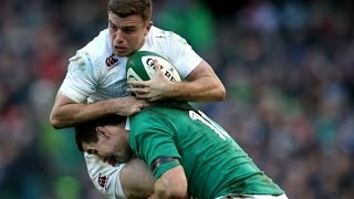 Jonathan Sexton big hit on George Ford, Ireland v England, 1st March 2015