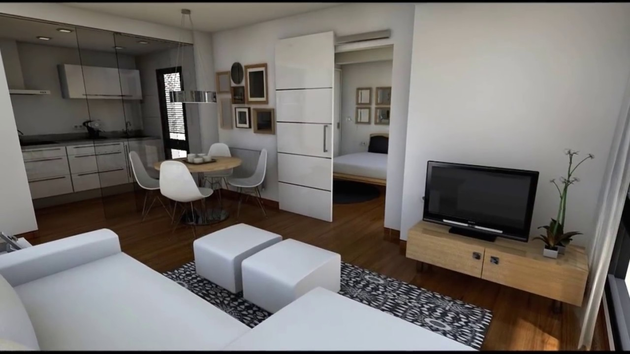 Dise o interior apartamento 40 m2 youtube for Disenos de departamentos pequenos modernos