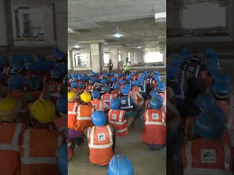 Safety officer speech about health and safety to construction workers.