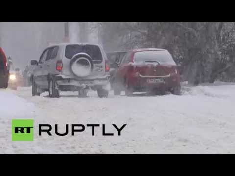 Russia: Voronezh hit by first snowstorm before New Year