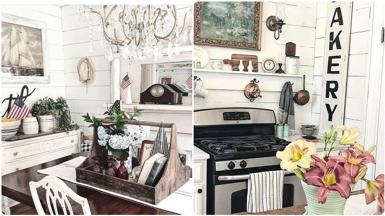 Tiny White Farmhouse Home Tour // Antique Farmhouse Home Decor Inspiration // Decorating on a Budget