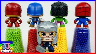 Learn Color with Avengers Thor Ironman Spider man Julk toys & beads ball [JJ Colors]