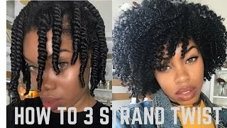 How to 3 Strand Twist Out *DETAILED + Night Time Routine