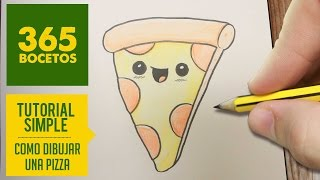 COMO DIBUJAR UNA PIZZA KAWAII PASO A PASO - Dibujos kawaii faciles - How to draw a pizza