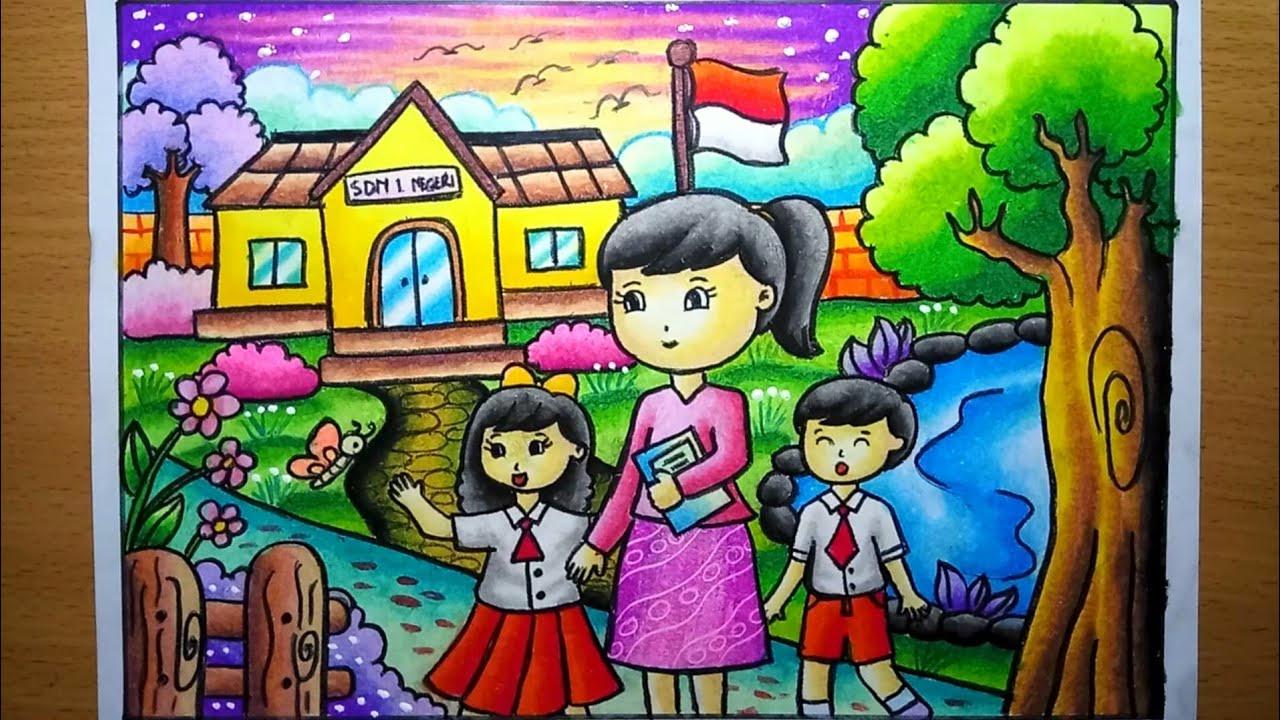 Cara Menggambar Dan Mewarnai Gradasi Tema Pendidikan Dan Hari Guru