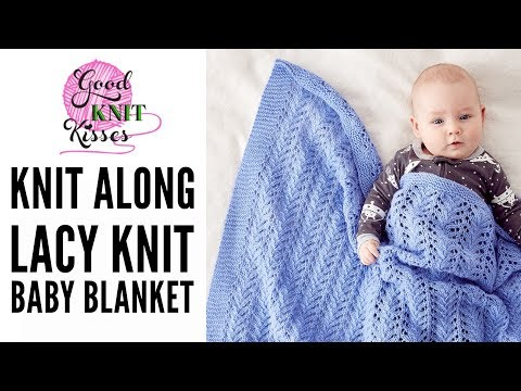 Knit Along Lacy Knit Baby Blanket with Bernat Baby Sport