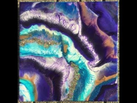 85. Resin Pour on a Canvas. 2 Layers. Turquoise and Purple