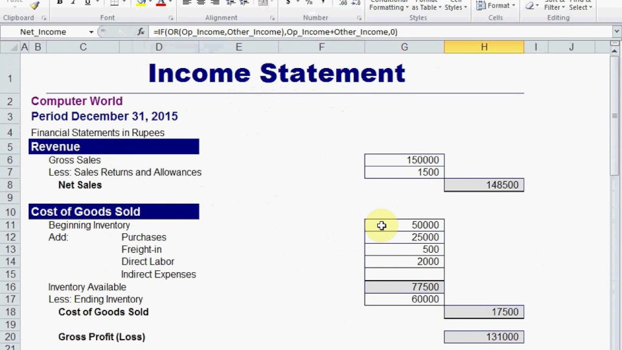 how to create income statement profit and loss account in