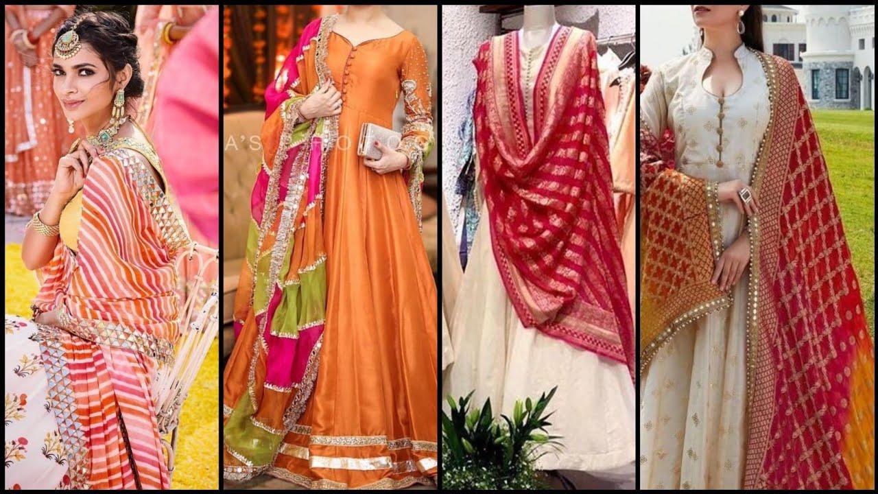 50+ Formal Wedding Wear Plain dress With fancy Dupatta Designs 2020
