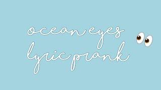 Billie Eilish-Ocean Eyes LYRIC PRANK! (Roblox) (READ DESCRIPTION)