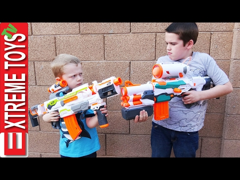 The Nerf Modulus Battle! Ethan Attacks Cole with his Nerf Modulus Tri Strike!