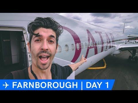 Qatar A350, QSuites, F16 & Cargo Planes   Farnborough Airshow Day 1