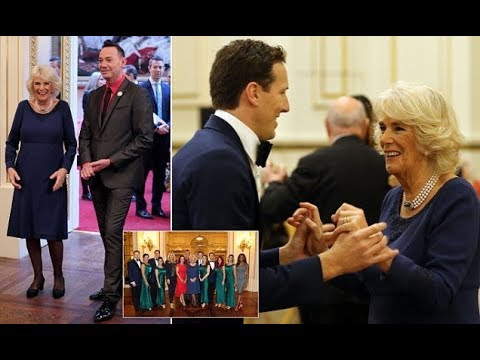 Camilla welcomes stars of Strictly to Buckingham Palace