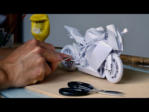 How I make bike with paper - KTM 1190 RC8 - amazing detailed paper craft
