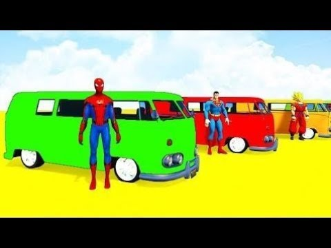 Ucit Se Barvy Autobus Deti Deti Kresleny Superhrdinove 3d Animace