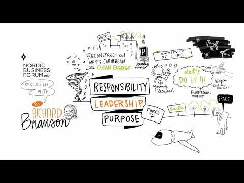 Sir Richard Branson at the Nordic Business Forum 2017 in Helsinki - A Sketchnote Video