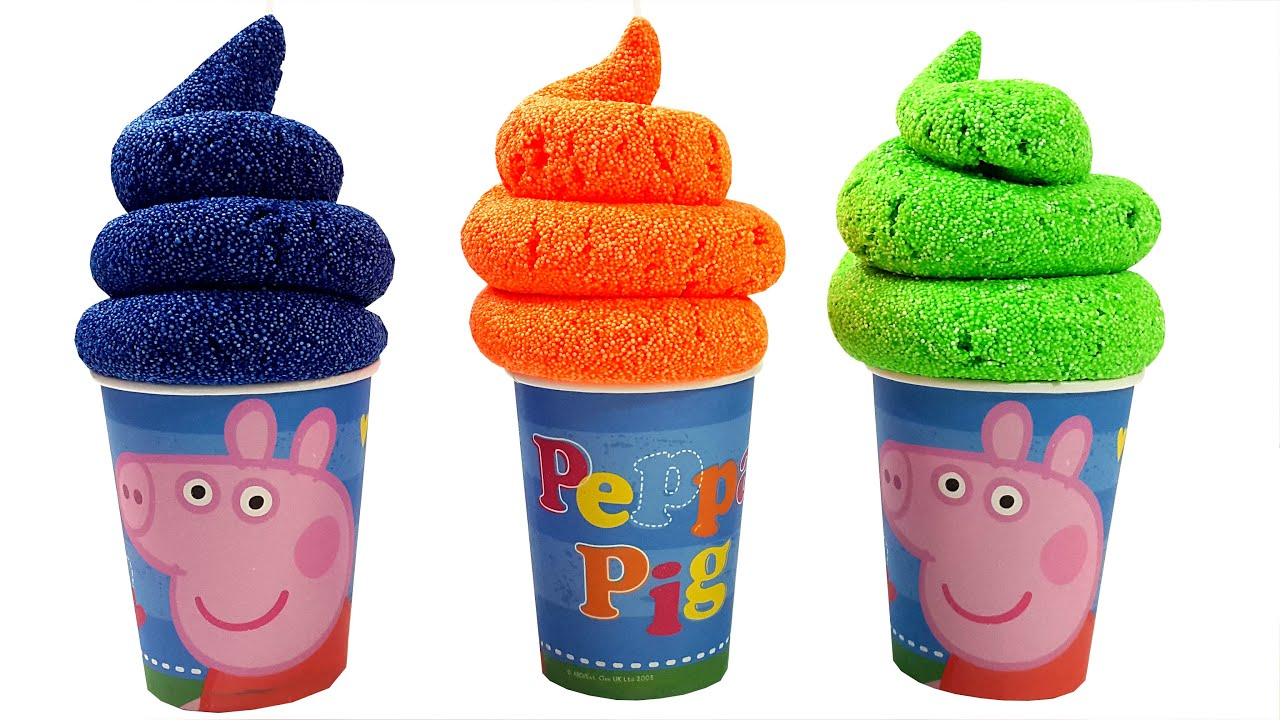 Ice Cream Foam Clay Surprise For Kids Peppa Pig Family Takes a Bath ...