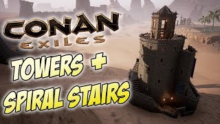 Conan Exiles - Round Tower Tutorial / How to Build Towers With Winding Spiral Stairs - Part 1