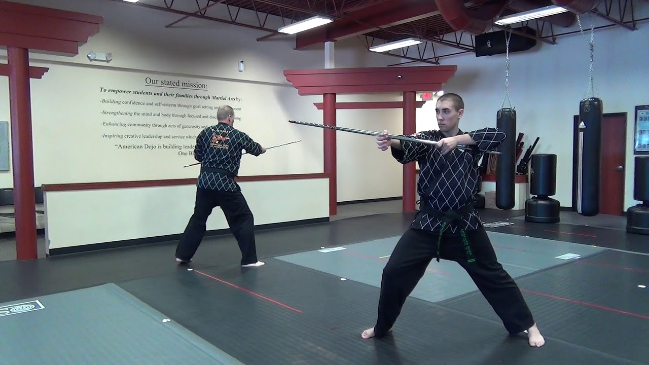 American Dojo Traditional Bo-Staff Form Section 1 - YouTube