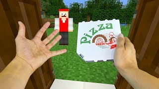 realistic minecraft steve orders pizza