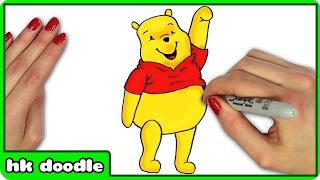 How To Draw Winnie the Pooh - Easy Step by Step Disney Cartoon Drawing For Kids by HooplaKidz Doodle