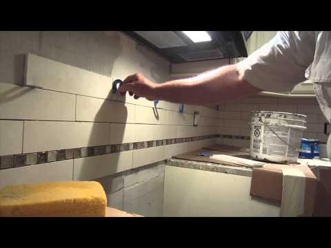 Limestone tile backsplash Complete  real time installation
