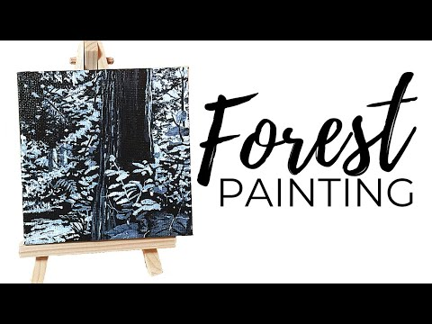 Forest Painting in Black and White (For Beginners)