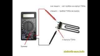 Как проверить (прозвонить) ТЭН(Как проверить ТЭН в электро-нагревательных приборах: в стиральной машине, в бойлере, в электрочайнике и..., 2013-12-20T08:26:53.000Z)