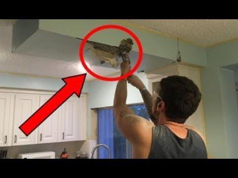 """قام بحفر جزء من سقف مطبخ """"وأكتشف بداخله شيء مذهل"""" شاهد المفاجئة !"""