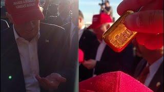 DONALD TRUMP signs $4,000+ Valcambi 100 gram (3.2oz) GOLD BAR autograph at Sacramento Rally