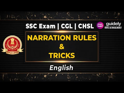 NARRATION | NARRATION RULES | NARRATION FOR SSC CGL | NARRATION TRICKS | NARRATION FOR HINDI