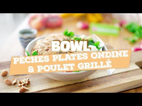 bowl-pêches-plates,-quinoa-et-poulet-grillé-(recette-rapido)