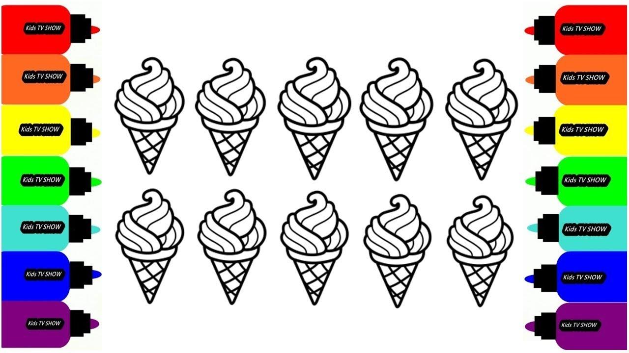 Учим цвета МОРОЖЕНОЕ Раскраска // Learn colors ICE cream ...
