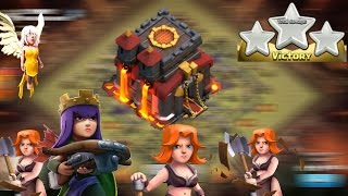 PROFESSIONAL TH10 QUEEN WALK VALKRIES 3 STAR ATTACK 🏆 CLASH OF CLANS 🏆 🌟 🌟 🌟