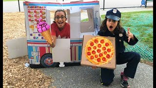 Police Pizza Delivery to Ice cream Truck!! Kids pretend play part 2