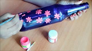 Beer Bottle Painting /  Fabric Painting on Beer Bottle / Waste Bottle Decoration / Bottle craft