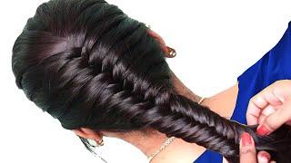 Simple Fishtail Braid Hair Style for short hair 2019 - Easy Way hairstyles girls : Fishtail Braid