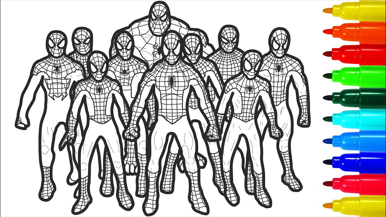 Spiderman Brotherhood Coloring Pages Spiderman Brotherhood Coloring Pages With Colored Markers Youtube