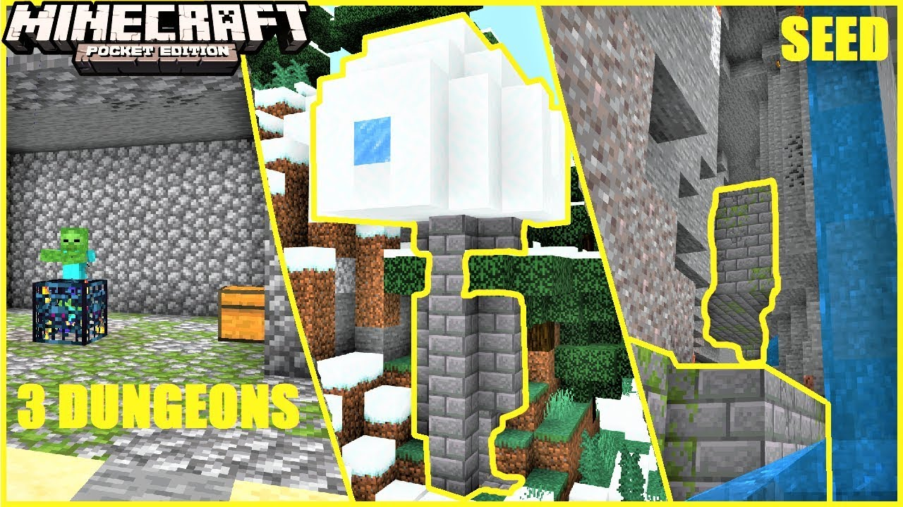 Minecraft Pe Floating Igloo With Basement 3 Dungeons Stronghold More Mcpe Seed