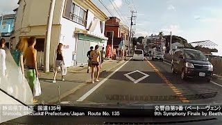 Country road.Japan.夏の国道で伊豆縦断フル。国道135号、国道414号、下田市から東名高速まで.