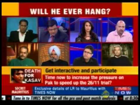 Arindam Chaudhuri debating Ajmal Kasav verdict on Times Now